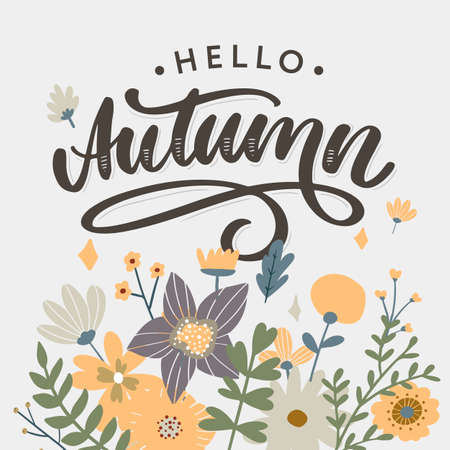 Hello, Autumn. Goodbye, Summer. The trend calligraphy. Vector illustration on the background of autumn leaves. Concept autumn advertising.