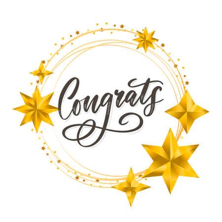 Congrats Congratulations card lettering calligraphy text Brush Ilustración de vector