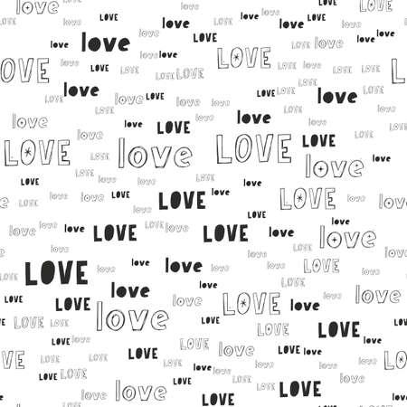 Vector handmade lettering LOVE - seamless pattern Vetores