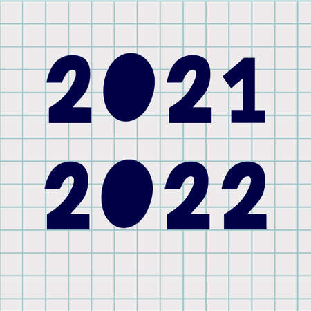 2022 Numbers Made with Vector Doodle Brushe. Hand Drawn New Year Ink Two and Zero Number, Sketch