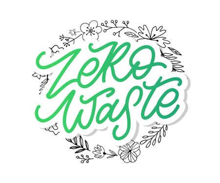 Concept Zero Waste handwritten text title sign. Vector Иллюстрация