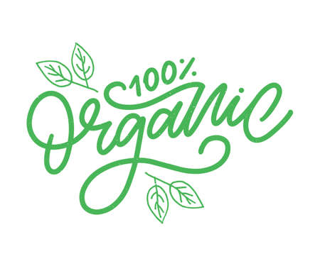 Organic brush lettering. Hand drawn word organic with green leaves. Label template for organic products, healthy food