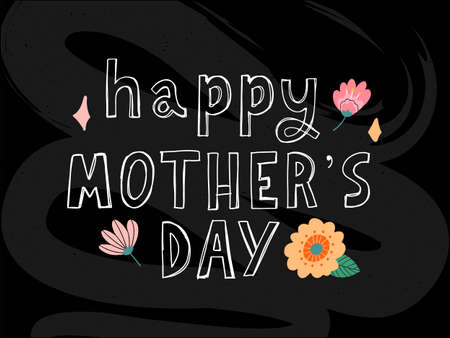 Happy Mothers day greeting card with typographic design and floral elements. Vector illustration. Paper cut style with blooming flowers, leaves and abstract shapes The best mom. Иллюстрация