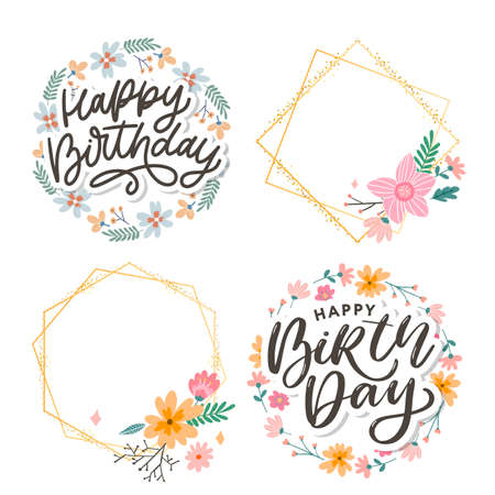 Beautiful happy birthday greeting card with flowers and bird. Vector party invitation with floral Иллюстрация