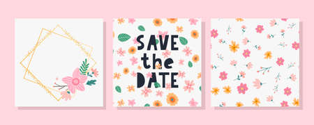 Lovely spring concept card. Awesome flowers and birds made in watercolor technique. Bright romantic card with summer flowers in vector. Charming Save the Date