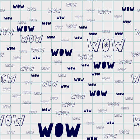 Vector seamless pattern drawn by hand. Curly black lines on a white background with word WOW