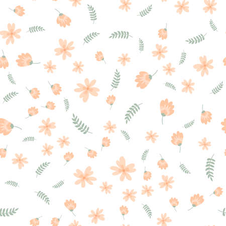 Vector floral pattern in doodle style with flowers and leaves. Gentle, spring floral Иллюстрация