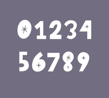 Hand drawn vector numbers font abstract doodle Vector Иллюстрация