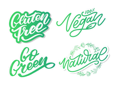 Gluten free label. Hand drawn brush lettering. Logo, badge template for healthy food stores