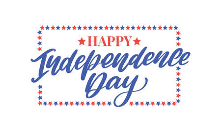 4th of july independence day lettering Иллюстрация