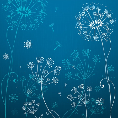 Deep blue dandelion flowers Stock Vector - 16110217