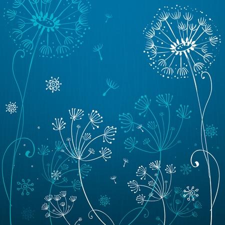 synergy: Deep blue dandelion flowers
