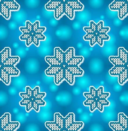 close knit: Christmas blue embroidery seamless pattern Illustration