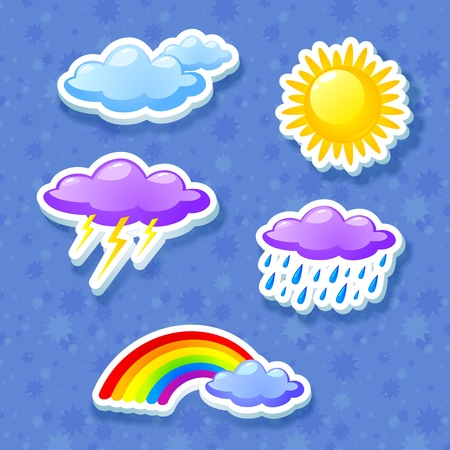 monsoon clouds: Colorful weather icon set
