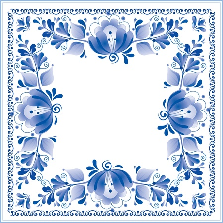 Russian national blue floral pattern Stock Vector - 16110146