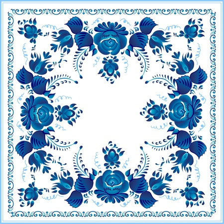 Russian national blue floral pattern Stock Vector - 16110162