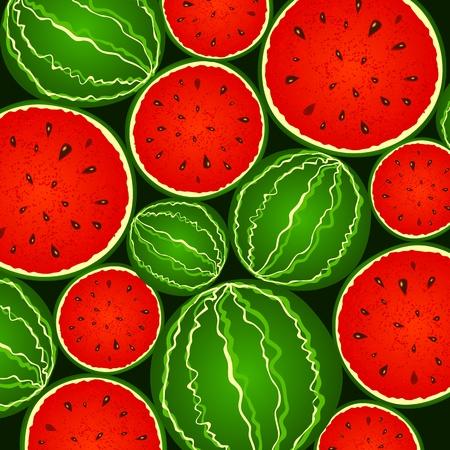 sliced fruit: Juicy watermelon background Illustration