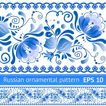 russian blue: Russian national blue floral pattern