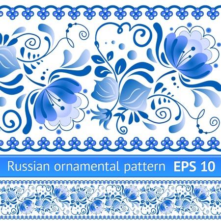 Russische nationale blauw bloemmotief