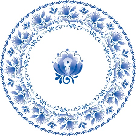 Decorative white and blue plate with flowers Vector