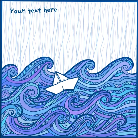 ocean storm: Artistic hand-drawing white sheep in the blue ocean Illustration