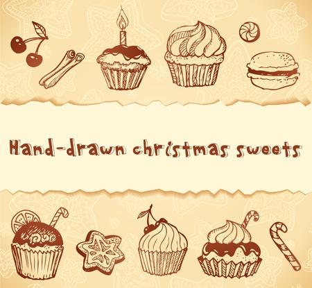 cream pie: Isolated bakery hand-drawn illustrations set