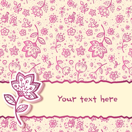 feminine background: Hand-drawing flower greetings card