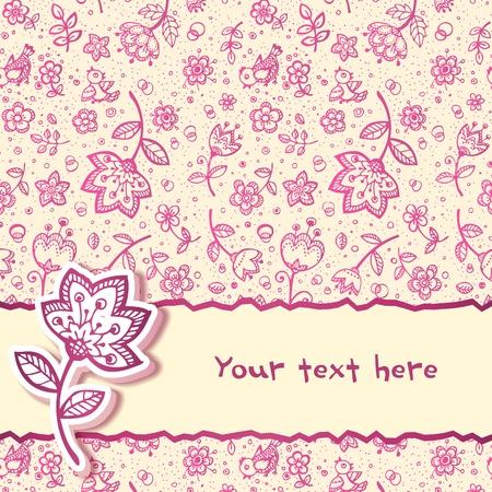 feminine: Hand-drawing flower greetings card