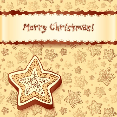 Christmas chocolate honey-cakes greetings card Vector