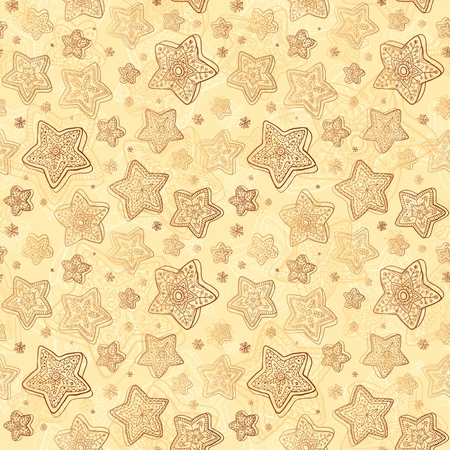 Christmas honey-cakes seamless background Vector