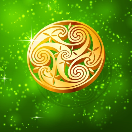 Magic golden triskel on green background photo