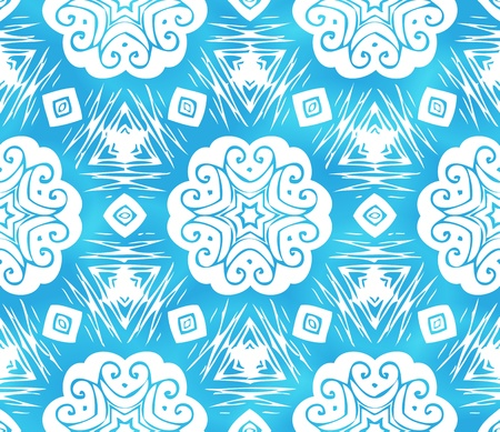 Blue abstract snowflakes seamless pattern Vector