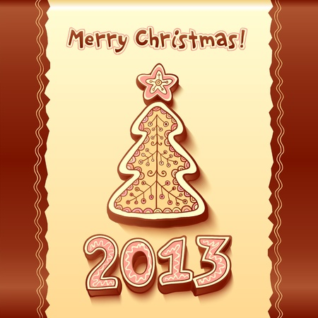 Christmas tree chocolate honey-cakes background Illustration