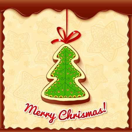 Chocolate christmas tree greetings card Vector