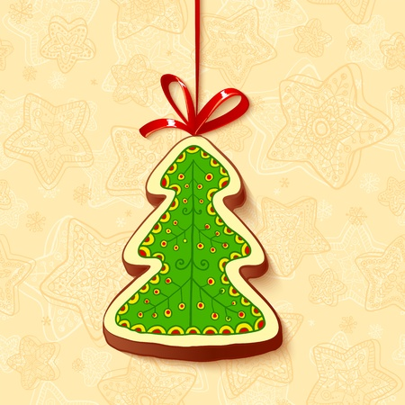 Christmas tree chocolate honey-cake greetings card Vector