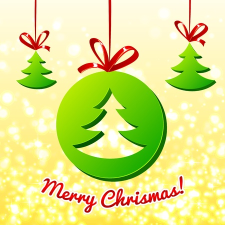 Christmas tree in green circle Vector