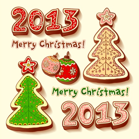 Christmas tree and chocolate honey-cakes Stock Vector - 16296078