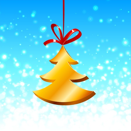 Christmas tree with red ribbon on the blue Stock Photo - 16296072
