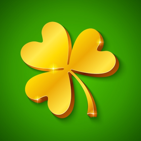 plactic: Golden clover on the green background