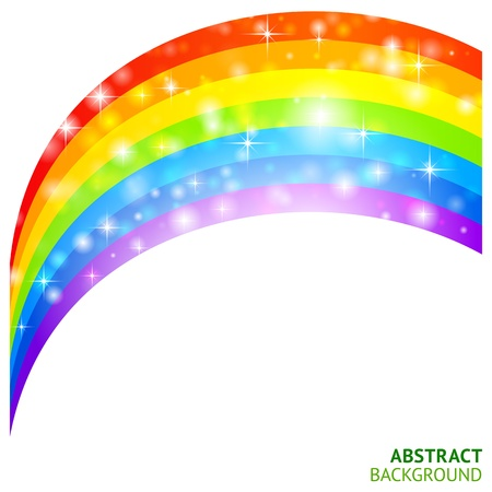 arco iris vector: Vector de fondo con el arco iris y el tr�bol de la suerte