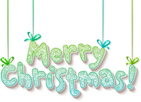 lettrage: Lettrage � la main orn� Merry Christmas signe Illustration