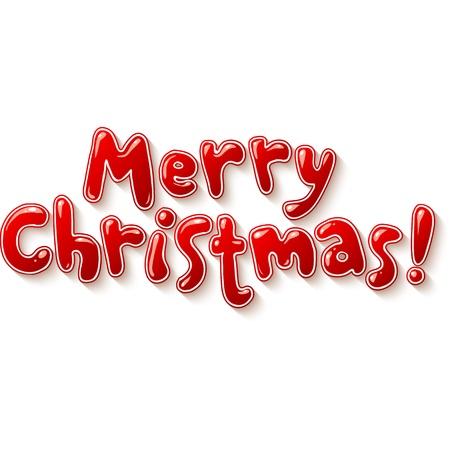 Hand lettering ornate Merry Christmas sign Vector Illustration