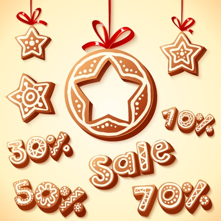 Christmas cakes sale discount illustration Vector