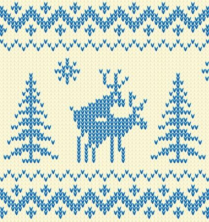 pullover: Blauen Pullover mit Reh Illustration