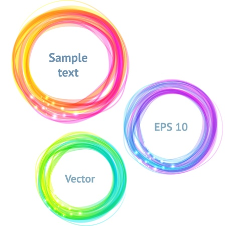 Round colorful spectrum banners for text