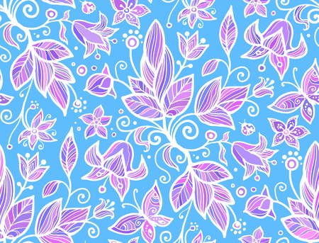 Abstract ornate shining flower vector seamless pattern