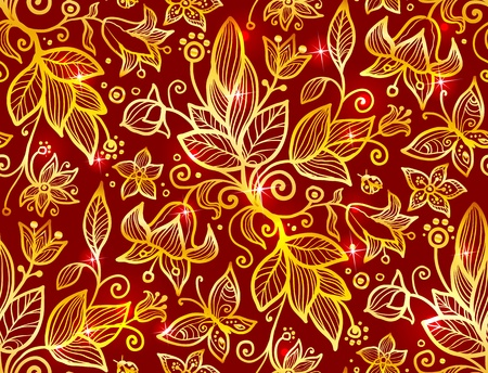 Abstract ornate shining flower  seamless pattern Vector