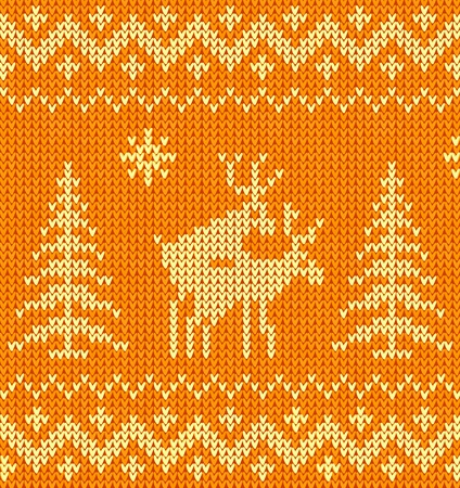 Joking orange knitted Christmas ornament with deers Illustration