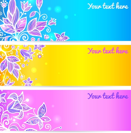 Colorful blue, yellow and violet doodle flowers banners