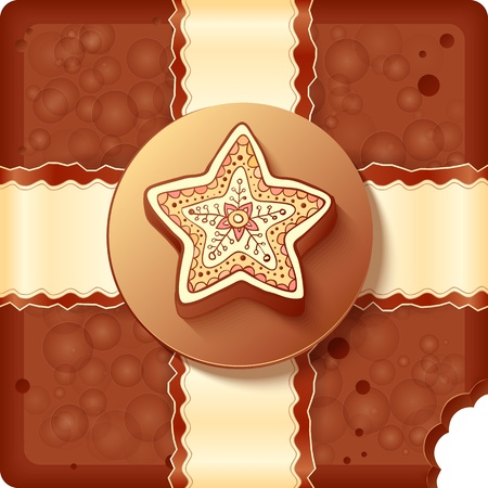 Christmas chocolate box with chocolate badge and ribbon Vector